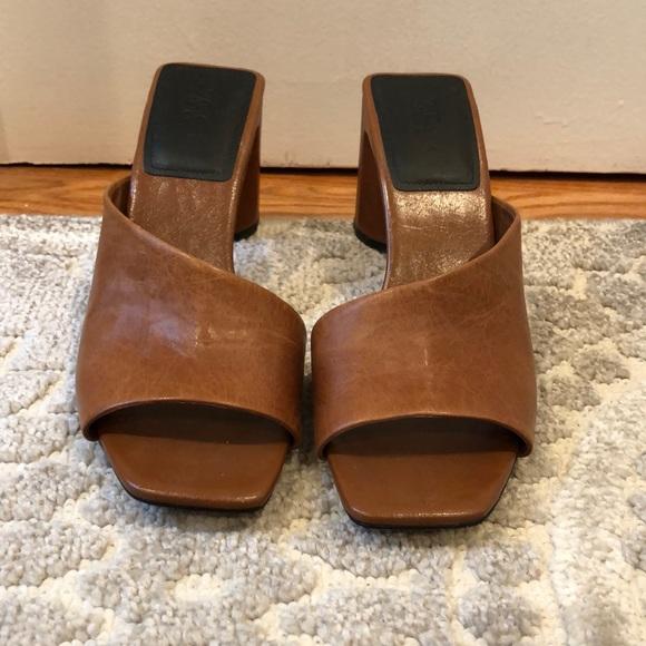 Zara asymmetrical heeled leather slides